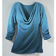 drape neck ombre sweater