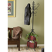 Hall Tree With Rattan Storage