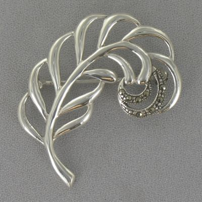 Sterling Silver Marcasite Leaf Pin