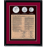 Framed U.S. Constitution with 3 Bicentennial Coins
