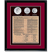Framed Us Constitution With 3 Bicentennial Coins