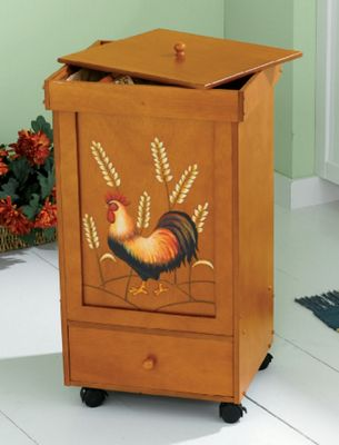 Rooster & Wheat Rolling Trash Bins