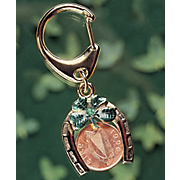 Irish Penny emerald Coin Horseshoe Lotto Scratcher Keychain