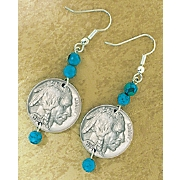 Buffalo Nickel Turquoise Earrings