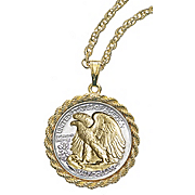 Selectively Gold layered Silver Walking Liberty Half Dollar Rope Pendant