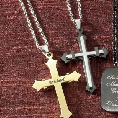 Stainless Steel Name Two-Tone Cross Pendant
