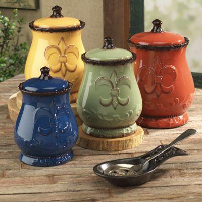 4 piece fleur de lis canister set from seventh avenue di79042 - Fleur de lis canisters ...