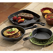 Pre Seasoned Cast Iron Grill Fry Pans 3 Piece Set