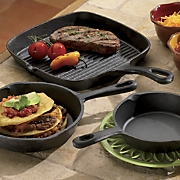 3-Piece Pre Seasoned Cast Iron Grill/Fry Pan Set