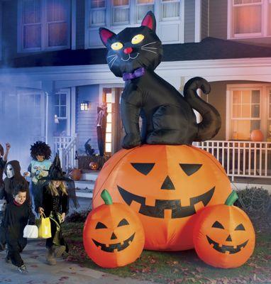 12-Foot Black Cat with 3 Pumpkins