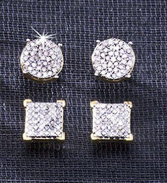 Post Diamond Cluster 10K Gold Earrings