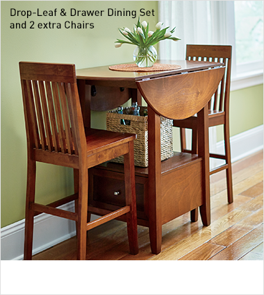 Drop-Leaf & Drawer Dining Set and 2 extra Chairs