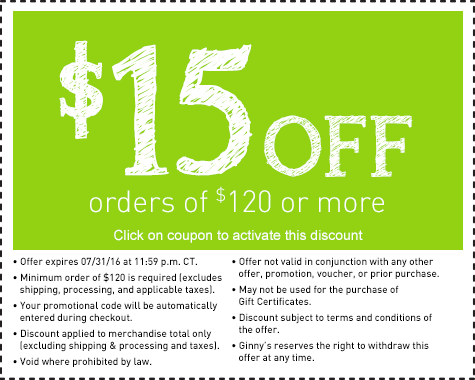 Save $15 on an order of $120 or more.
