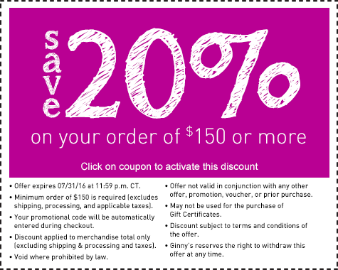 Save 20% on Orders over $150.