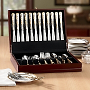77 pc Gold accented Margaux Flatware With Personalized Chest