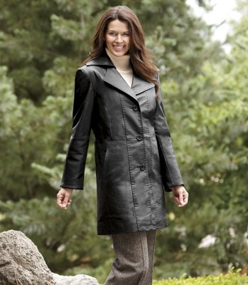 Women's Black Leather Walking Jacket