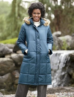 Women's Quilted, Hooded Full Coverage Coat by Totes