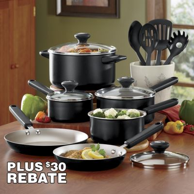 14-Piece Cook's View Nonstick Aluminum Cookware Set by Farberware