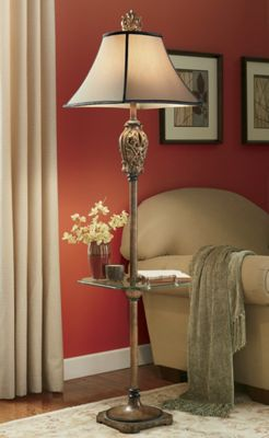Scroll Leaf Floor Lamp with Glass Shelf