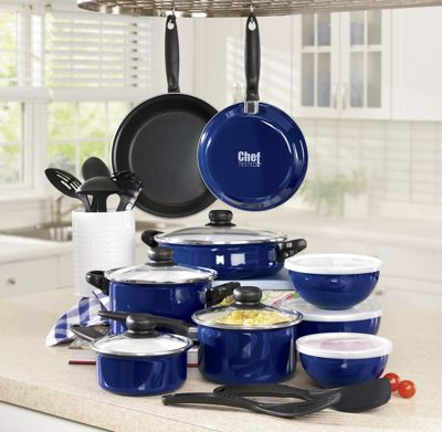 Chef Tested 22-pc. Enameled Steel Cookware Set by Montgomery Ward