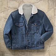men s stonewashed denim sherpa jacket