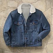 men s stonewashed denim sherpa jacket