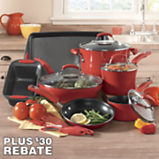 14 pc nonstick aluminum cookware set with porcelain enamel exterior and 20 rebate by rachael ray