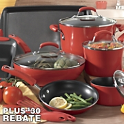 Rachael Ray 14-Piece Aluminum Cookware Set with Porcelain Enamel Cookware