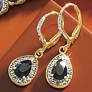 midnight blue sapphire pear leverback earrings
