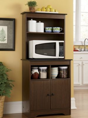 Haley microwave stand with hutch from montgomery ward for Microwave table ikea