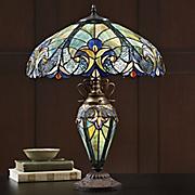 tiffany style halston double lit lamp