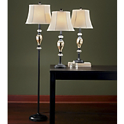 set of 3 mercury glass style lamps