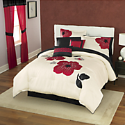 flora appliqued and embroidered 10 pc bed set and window treatments
