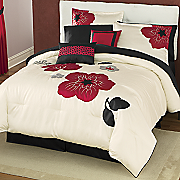 flora appliqued and embroidered 10 pc bed set