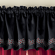 flora appliqued and embroidered valance