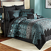 Kismet Woven Jacquard 10-Piece Bed Set, Pillows & Window Treatments