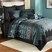kismet woven jacquard 10 pc bed set pillows and window treatments