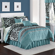 Royal Safari Damask Complete Bed Set, Pillow and Window Treatments