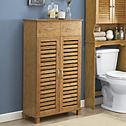 Bamboo-Finish Towel Cabinet