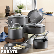 10 pc genesis hard anodized nonstick aluminum cookware set by circulon