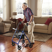 Folding Rollator Walker with Padded Seat Removable Backrest and Hand Brakes