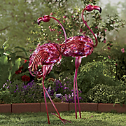 set of 2 pink solar flamingos