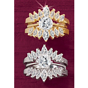 round marquise double bridal set