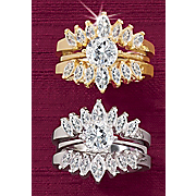 round marquise double bridal set