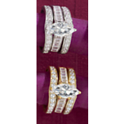 marquise square round channel bridal set