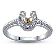 two tone heart horseshoe ring