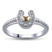 two tone heart horseshoe ring