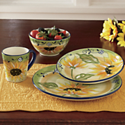 16 pc hand painted sunflower dinnerware set