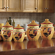 4 pc hand painted american heritage canister set