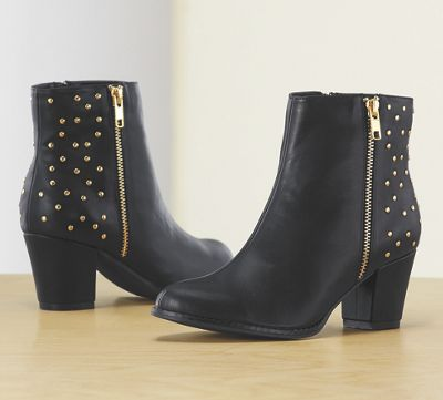Monroe & Main Studs and Zipper Bootie